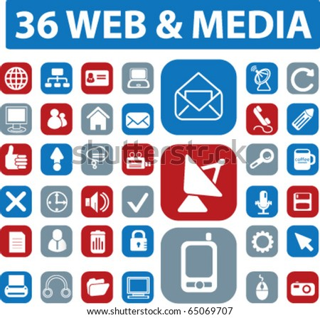 36 web & media buttons. vector