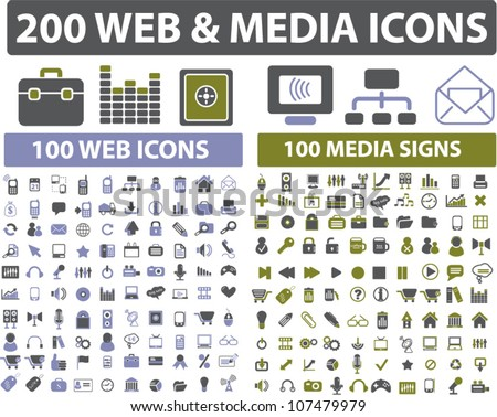 200 web & media icons set, vector