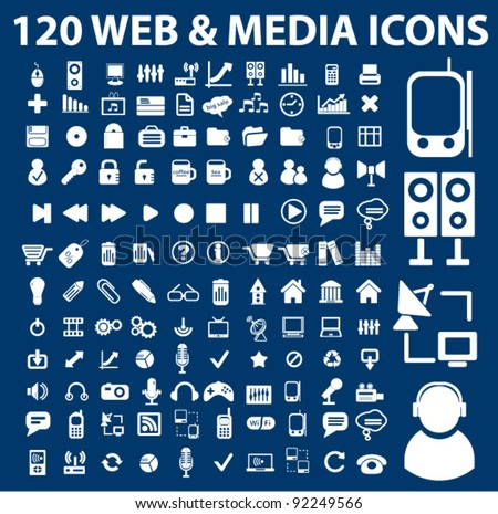 120 web media icons set, vector illustrations