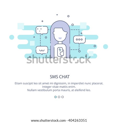 Web page design template of technical support operator, sms chat, mobile connections, Girl Chatting Texting.  Chatting in flat layout style, business concept web vector illustration.