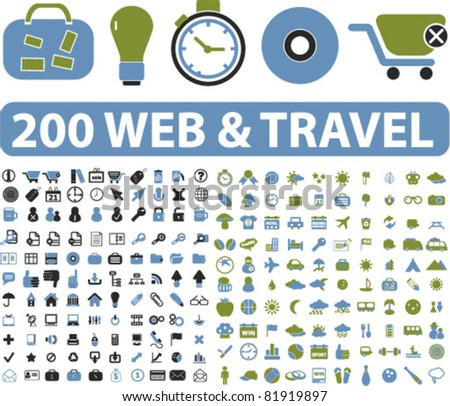 200 web & travel icons, signs, vector illustrations