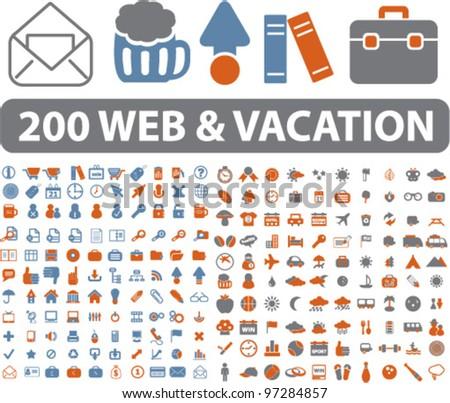 200 web & vacation travel icons, signs, vector