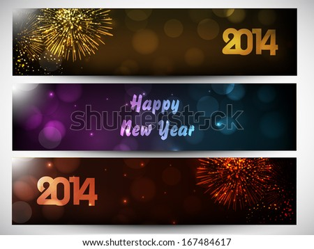 website header or banner set design for happy new year 2014 celebration with stylish text on
