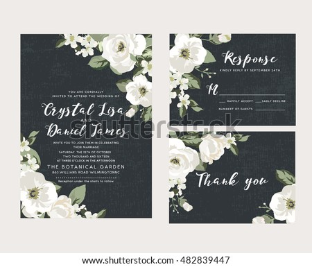 Wedding collection,wedding design,invitation card,romantic floral,white flower #482839447