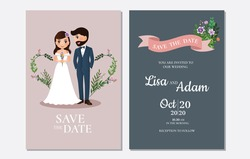 Wedding invitation card. Cute bride and groom couple cartoon characters. Colorful vector illustration for event celebration