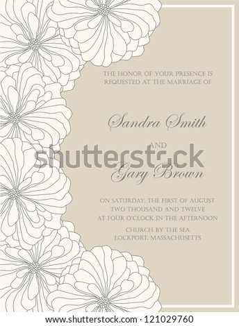 Wedding invitation floral card - stock vector