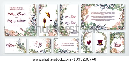 Wedding invitation frame set; flowers, leaves, watercolor, isolated on white. Sketched wreath, floral, herbs garland, green, greenery color. Handdrawn Vector Watercolour style,nature art, background