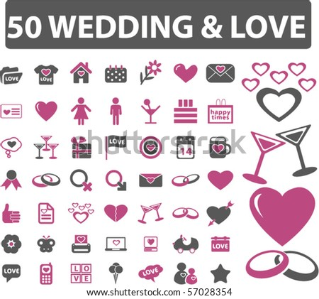 50 wedding & love signs. vector