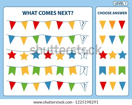 """What comes next"" is educational game for the development of logical thinking of children. Find the regularity and continue the row task. Christmas theme. Difficulty level 1. Vector illustration"