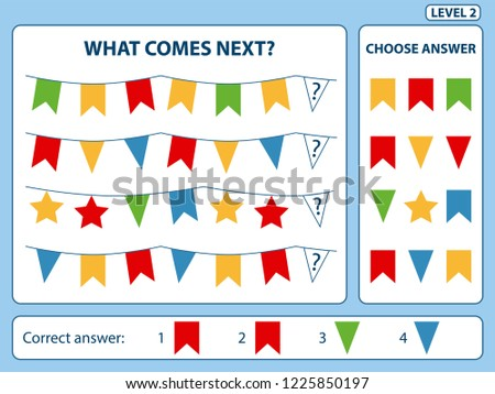 """What comes next"" is educational game for the development of logical thinking of children. Find the regularity and continue the row task. Christmas theme. Difficulty level 2. Vector illustration"