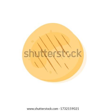 Wheat pita bread icon isolated on white background. Tasty food, tortilla, buritto, falafel, taco. Cartoon vector illustration. Stockfoto ©
