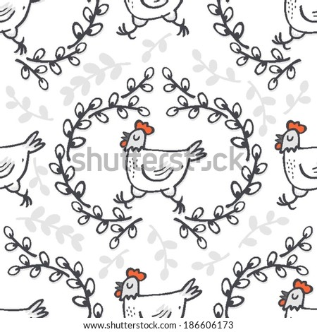 White hen in willow wreath spring holiday Easter illustration on white background seasonal animal seamless pattern