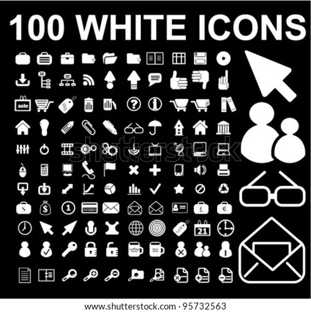 100 white icons set on black background, vector