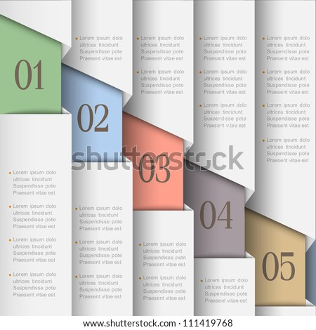 White paper numbered banners. Vector design template - stock vector