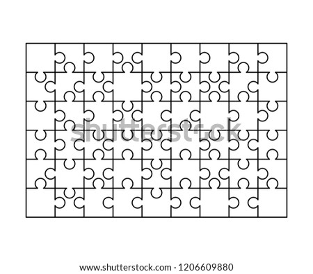 54 white puzzles pieces arranged in a rectangle shape. Jigsaw Puzzle template ready for print. Cutting guidelines isolated on white - Shutterstock ID 1206609880