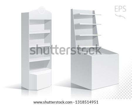 White Round POS POI Cardboard Floor Display Rack For Supermarket Blank Empty Displays With Shelves Products On White Background Isolated. Ready For Your Design. Product Packing.