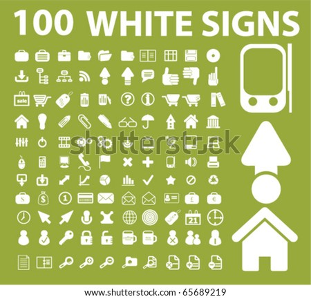 100 white signs. vector