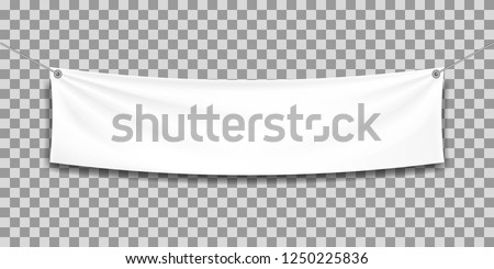 White textile banner with folds.