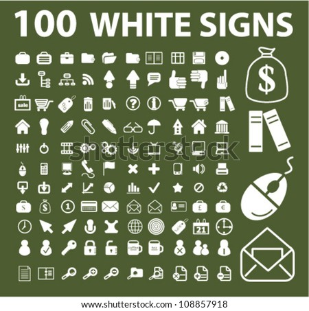 100 white web icons, signs set, vector - stock vector