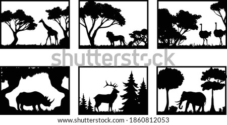 6 Wildlife scenes with animals 3D models and vector files. | cnc file, laser cutting file | Dxf, Svg, Max, Cdr, Eps, FBX, AI, 3DS |Set 099|