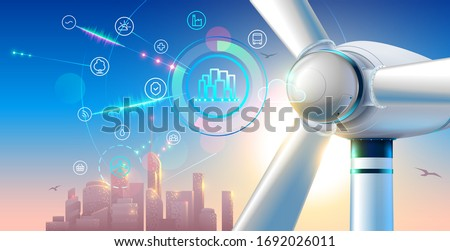 Wind farm close up. silhouette town on sunset. smart city green energy concept.  alternative electricity communication with urban infrastructure. Illustration of windmill or electric generator.