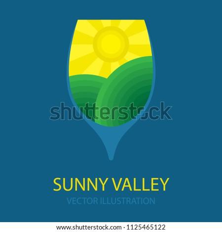 wine logo concept sunny