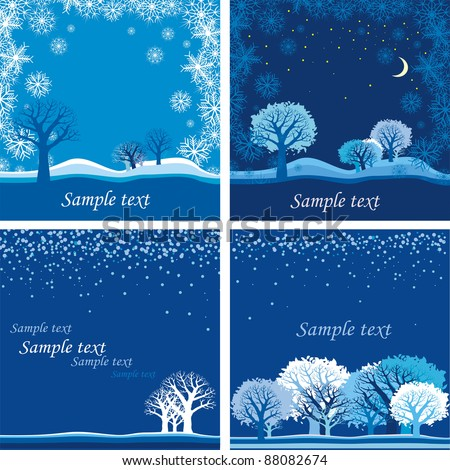 Winter landscape with a hut, forest, snowfall and place for your text. Vector Illustration