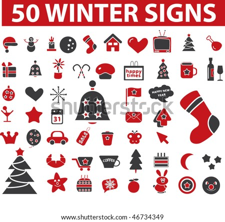 50 winter signs. vector - stock vector