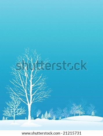 Winter trees.Vector decorative illustration for graphic design.