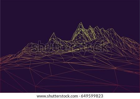 wireframe polygonal mountain