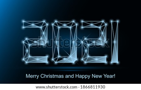 2021 wireframe sign vector illustration on blue background. Low poly concept. Photo stock ©