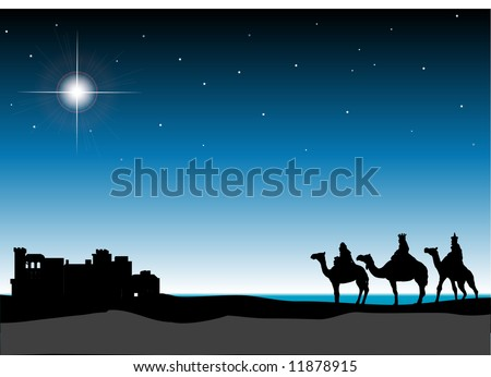 3 Wisemen with Bethlehem in the background