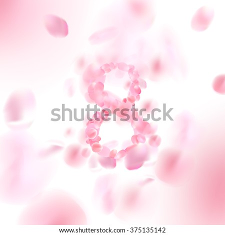 \'8\' with falling flower petals blossom. Romantic vector illustration.