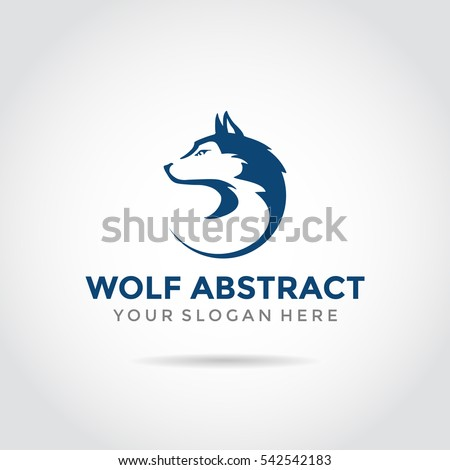 Wolf Abstract template logo design. simple flat style.