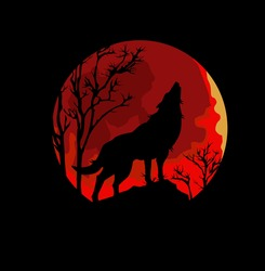 Wolf Howling at the Moon in the Midnight Vector Illustration Stock Vector