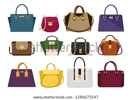 Woman color bags Designer Ladies Handbag  collection of fashionable female accessories of different types isolated icons set vector.  Trendy leather women handheld bag isolated on white background
