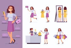Woman doing shopping  in clothing store. Flat style vector illustration isolated on white background.