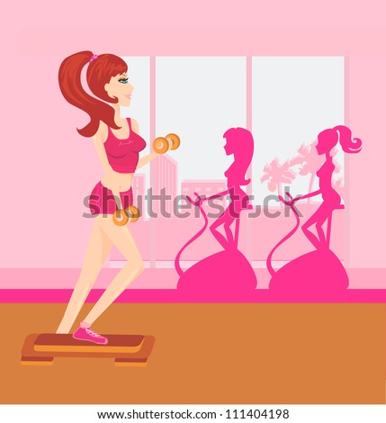 woman exercising in gym - stock vector