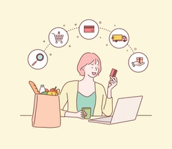 Woman holding credit card while using laptop near paper bag with groceries. online shopping concept. Hand drawn style vector design illustrations.