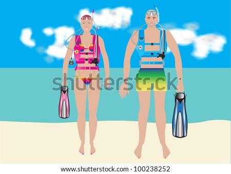 Gorgeous Woman Scuba Diver Woman Scuba Diver in a Bikini