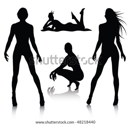 woman silhouette set  in the
