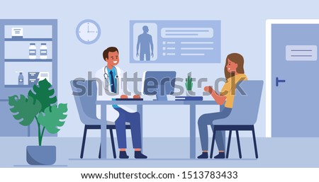 Woman talking with man doctor in his office. Patient having consultation with doctor therapist in hospital. Male and female medical people characters. Flat cartoon vector illustration.