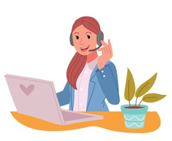 Woman with headphones and microphone with computer .Friendly female customer support operator with headset talking with a client at office .