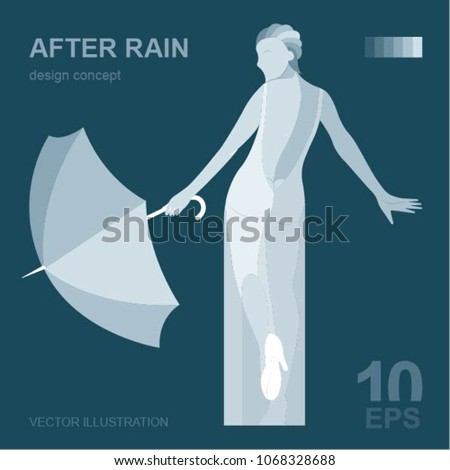 woman with umbrella after rain