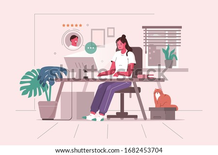 Woman Working at Home Office. Character Sitting at Desk in Cozy Room, Looking at Computer Screen and Talking with Colleagues Online. Home Office Concept.  Flat Cartoon Vector Illustration.