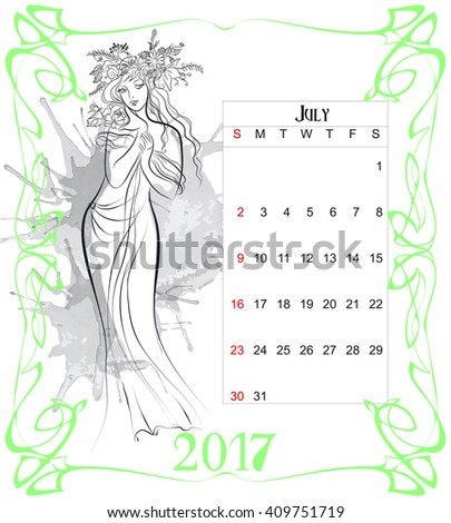 women calendar by july