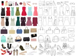 women, fashion clothes, set, sketches and silhouettes