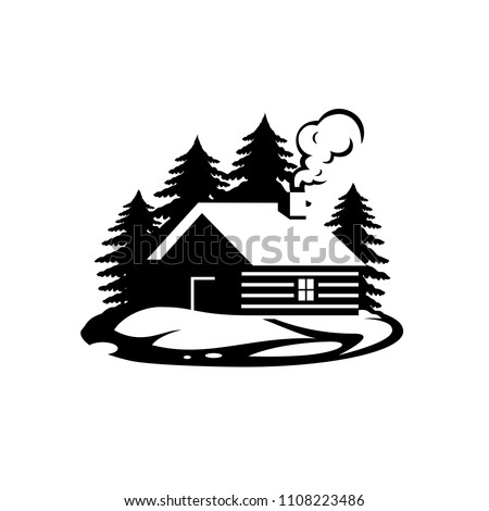Wooden log cabin house in the woods.  vector.