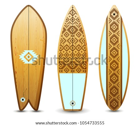 3 wooden surfboards decorated