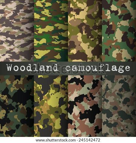 8 woodland camo patterns set